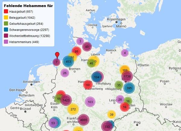 digitale Landkarte der Hebammen-Unterversorgung des DHV