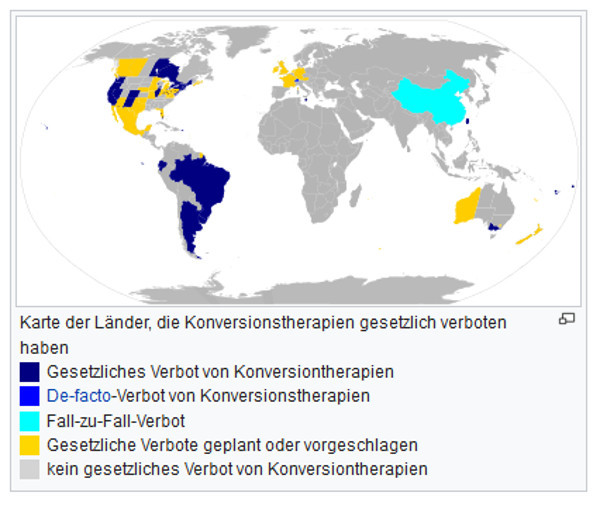 Länderkarte Verbot von Konversionstherapien (2018)