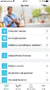 Bildschirmansicht der HEK Service App